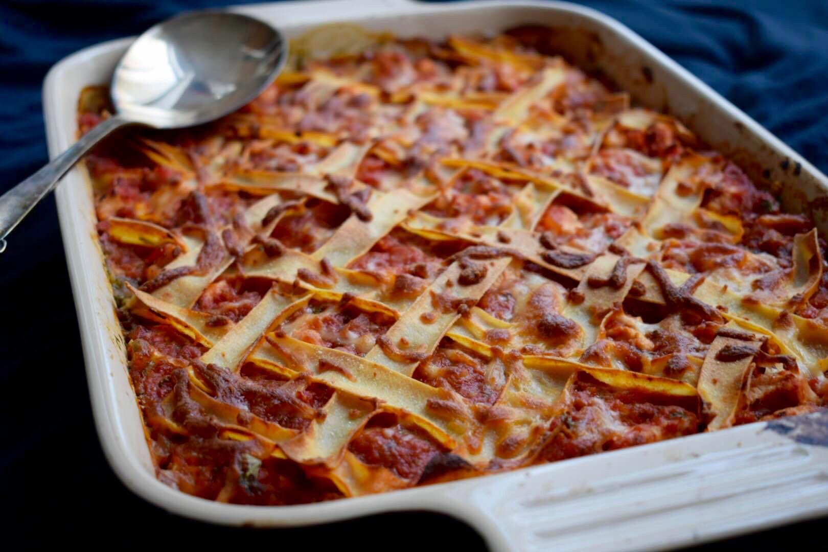 Kyllinge Lasagne med hytteost og spinat